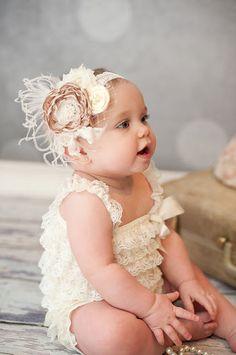 Baby Girl Headband - Baby Headband - Beige Flower Headband - Vintage Baby Headband - Flower Girl Headband - Over the Top Headband. $25.00, via Etsy.