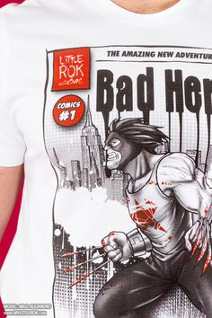 """MyComics: Think of a hero, a comic book, a symbol... every month an exclusive T-shirt, brand new and young.  Are you ready to assume the role of a hero and to live month after month this adventure? This time a cover. The """"bad"""" hero, wild and elusive, """"Bad Hero""""...As always with the dedicated collector...#MyLittleRok #LittleRok#LittleRokOriginal #tshirt#subscription #subscriptionBox Bad Comics, Latest Issue, Comic Books, Hero, Adventure, Live, Mens Tops, T Shirt, Supreme T Shirt"""