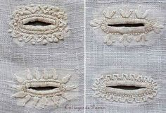 Embroidery: buttonholes, 1828, white, 19th century, 1820s