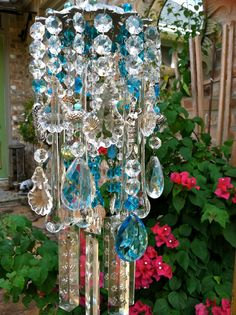 Ocean View Vintage Crystal Windchime..Mermaids by MsJoJangle