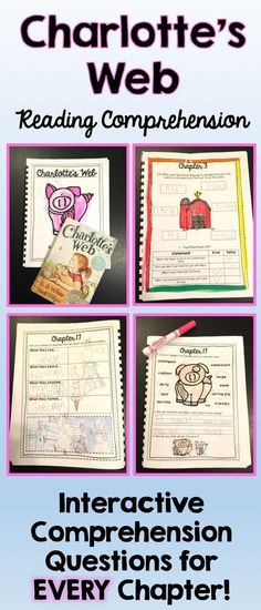 """Teaching Charlotte's Web? Check out this interactive student workbook that includes reading comprehension questions for EVERY chapter! Teachers have noted that """"It really pushes students to think past multiple choice questions. I love how each chapter is unique and asks different types of questions!"""" $6.00"""