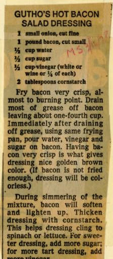 Hot Bacon Salad Dressing :: Historisches Rezept - Old Clipped Recipes - Salat Rezepte Old Recipes, Vintage Recipes, Great Recipes, Cooking Recipes, Favorite Recipes, Recipies, Salad Bar, Soup And Salad, Hot Bacon Dressing