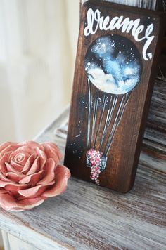Dreamer-Galaxy inspired hot air balloon Wooden Sign by campfireshop on Etsy