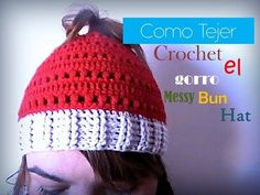 Como tejer a CROCHET el Messy Bun Hat (diestro) - YouTube