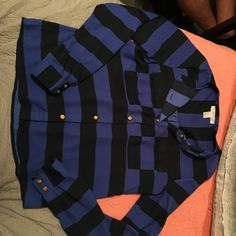 Long stripped sleeve shirt Long sleeve stripped blue and black with gold buttons Forever 21 Tops Button Down Shirts