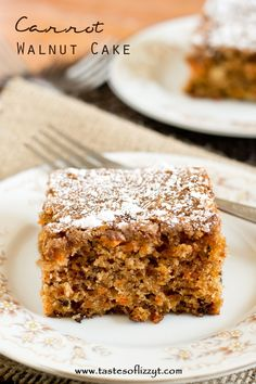 Carrot Walnut Cake >> by Tastes of Lizzy T's. A deep-flavored, moist cake with carrots and walnuts in every bite. A simple dusting of powdered sugar tops this comforting carrot walnut cake.