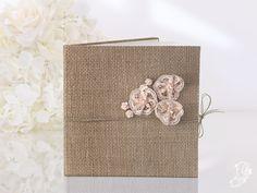 Gastenboek jute met roze kanten bloemen