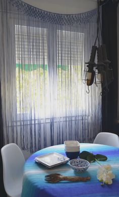 Tye dye macrame curtain by Ranran Design
