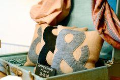 Ampersand Burlap & Felt Pillow by LostInArtTexas on Etsy