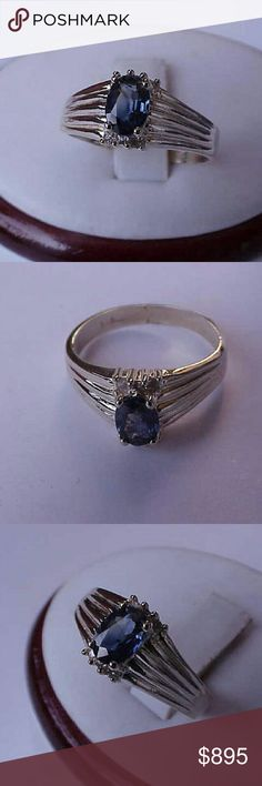 14k gold genuine blue sapphire & diamonds ring Antique 14k yellow gold ring with 7mm x 5mm genuine blue sapphire and 6 single cut diamonds.  Stamped 14k. Weight 3.7gr. Size 7 1/2. Jewelry Rings