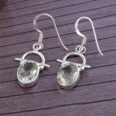 NEW DESIGN Green Amethyst Cut 925 SOLID STERLING SILVER EARRING 3.51g ER1770 #Handmade #Earring