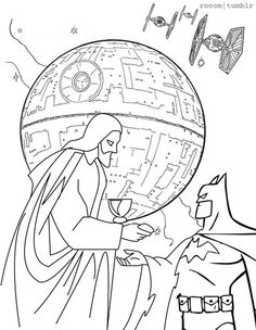 The best coloring book EVER, page 2: Jesus and Batman team-up to take down the Death Star.