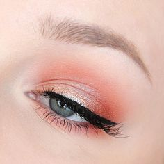 soft coral and peach eye with winged liner - lovely for a spring or summer wedding makeup look! ~  we ❤ this! moncheribridals.com