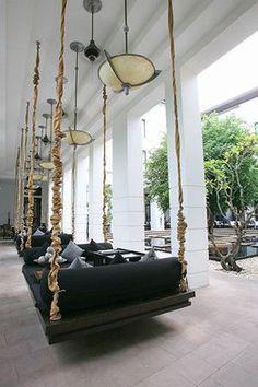 "hanging bench at | hotel | ""hôtel de la paix"" | siem reap, cambodia"