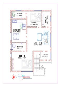 South Indian House Plans With Vastu 2bhk House Plan, 3d House Plans, Model House Plan, Indian House Plans, 2 Bedroom House Plans, Duplex House Plans, Home Design Floor Plans, Small House Plans, Drawing House Plans