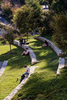 Boston College, Stephen Stimson Landscape Architects. Landscape Stairs, Landscape Architecture Design, Urban Landscape, Landscape Architects, Park Landscape, Architecture Diagrams, Architecture Portfolio, Sloped Backyard, Sloped Garden