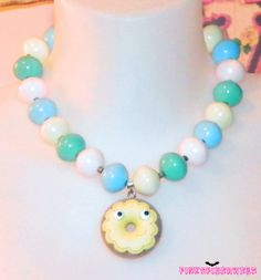 Pastel Beaded Kawaii Donut Necklace by Pinkspiderwebs on Etsy