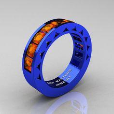 Mens Modern Italian 14K Blue Gold Princess Orange Sapphire Channel Cluster Sun Wedding Ring R274-14BLOS