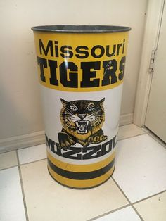 b330216f7c7 Missouri Tigers Football Vintage Mizzou Trashcan Waste Basket 1980