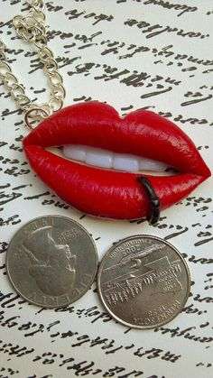 Polymer clay lip pierced necklaces jewelry necklace by NeckLaced