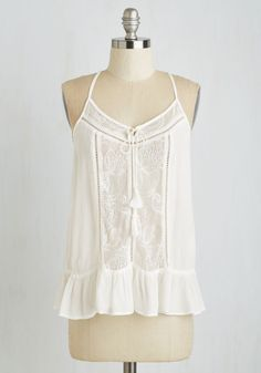 Rainy Daydreamer Top. When the weather turns to grey, you can always light up your day in this ethereal tie front top. #white #modcloth