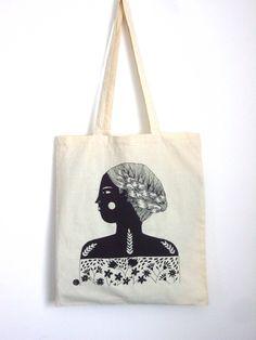 Girl Screen Printed Shopper Free UK Shipping. £8.00, via Etsy.