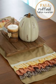 Ruffled Fall Table Runner from Made to Be a Momma - 7 Table runners to get you to the holiday entertaining season!