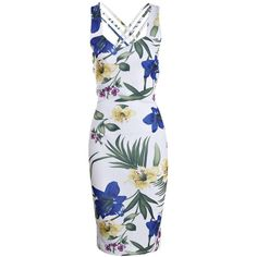 Boohoo Bay Tropical Print Sweetheart Midi Bodycon Dress (455 ZAR) ❤ liked on Polyvore featuring dresses, sweetheart bodycon dress, sweet heart dress, sweetheart neckline bodycon dress, calf length dresses and sweetheart cocktail dress