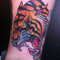 Old school traditional tiger tattoo #tattoo #tiger #kysa