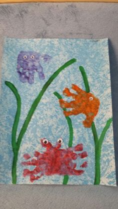 Under the sea handprint art fish jellyfish crab