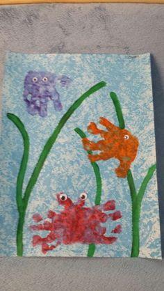 Under the sea handprint art fish jellyfish crab