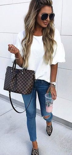 #winter #outfits white scoop neck shirt , distressed blue washed jeans and pair of pointed toe flat shoes outfit