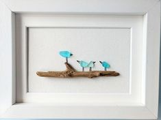 Unframed 5 by 7 sea glass bird pebble art mothers day gift