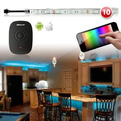 Amazon.com: Premium 10pc 300 LED iOS Android Home Party Lighting Solution WiFi App Control Neon Accent Light Kit - Kitchen Bedroom Living Room Under Cabinet Furniture Lighting: Cell Phones & Accessories