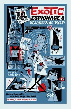 Derek Yaniger Creates Cool Retro Illustrations, Clip Art Images, Fine Art Paintings, Serigraphs, and Tiki Mugs Inspired by Cocktail Napkin Art of the Bars Tiki, Tiki Art, Tiki Tiki, Rockabilly, Tiki Lounge, Vintage Tiki, Retro Cartoons, Tiki Room, Retro Illustration