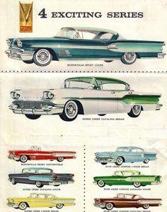 1958 Pontiac Bonneville, Super Chief, and Star Chief cars vs lamborghini sport cars Pontiac Bonneville, Vintage Advertisements, Vintage Ads, Vintage Rock, Vintage Posters, Motos Vintage, Pontiac Cars, Oldschool, Car Illustration