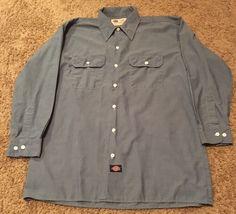 Mens Dickies Blue Chambray Size Large Cotton Blend Work Shirt Long Sleeve EUC #Dickies #WorkShirt #Chambray #Mechanic #Industrial #LongSleeve #ButtonFront