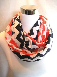 2 pack lot Navy Blue and Orange Chevron Infinity Scarves - school team colors - ChevronScarf
