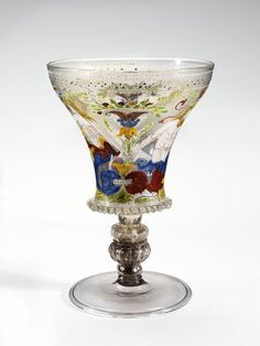 Goblet, Italy (Venice), 1500-1525, mould-blown stem, enamelled and gilt.