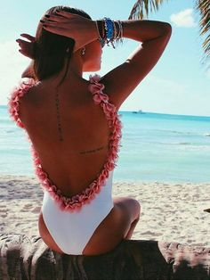 White Backless Petals One-piece Swimsuit