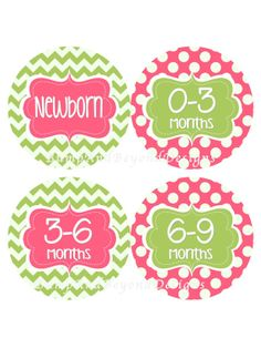 Baby Storage Stickers Baby Clothes Organization Labels NB-2T Plus Extras - Set of 12 Pink Green Chevron Girl Nursery Storage Labels - Aubrey on Etsy, $10.00