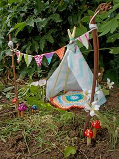 Such a cute gift idea for a kid! Fairy Garden Teepee and Banner | Outdoor Areas