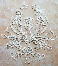 Raised Plaster Stencil Brassio Frieze Wall by ElegantStencils