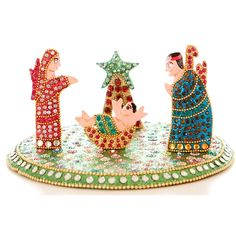 Bling Nativity Creche, Painted Wood with Rhinestones, India