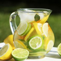 Try Fruit Infused Water: Lemon Water: Easy and refreshing to make, naturally slimming,aids in cleansing liver, infuses quickly, Easy Recipes: For a large batch of infused water, fill a pitcher with water, mix in some chopped up fruits, veggies, and/or herbs and let it sit in the fridge for two to eight hours (depending on how strong you want the flavor to be).