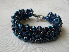 Kék/hematit fonott karkötő