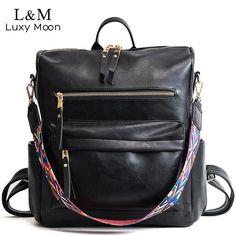 cc5debb644 Leather Backpack Women 2019 Students School Bag Large Backpacks  Multifunction Travel Bags Mochila Pink Vintage Back Pack