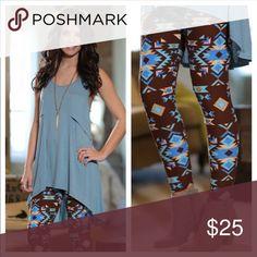🆕🎉Aztec print leggings Super Soft Aztec print leggings. One Size. 92% polyester 8% Spandex. 10% ✨Bundle Discount💕✨ Pants Leggings