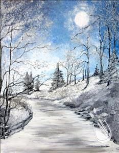 Painting classes are siper fun! Painting with a Twist - Annual Art Contest Painting Snow, Winter Painting, Winter Art, Painting & Drawing, Winter Landscape, Landscape Art, Landscape Paintings, Watercolor Landscape, Pictures To Paint