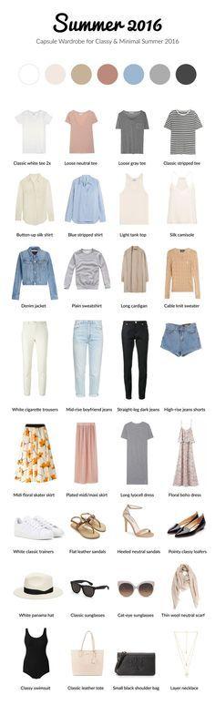 Summer 2016 capsule wardrobe for classy and minimal. #capsule